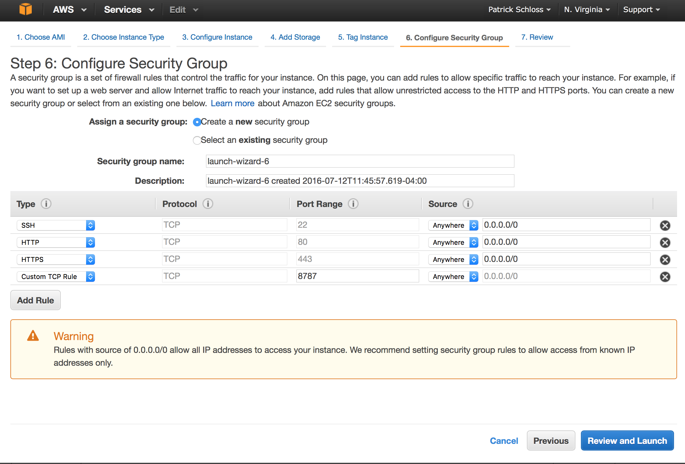 Configuring the security group